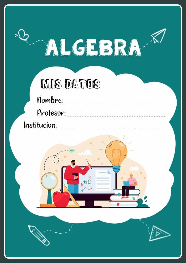 portadas para cuadernos de algebra